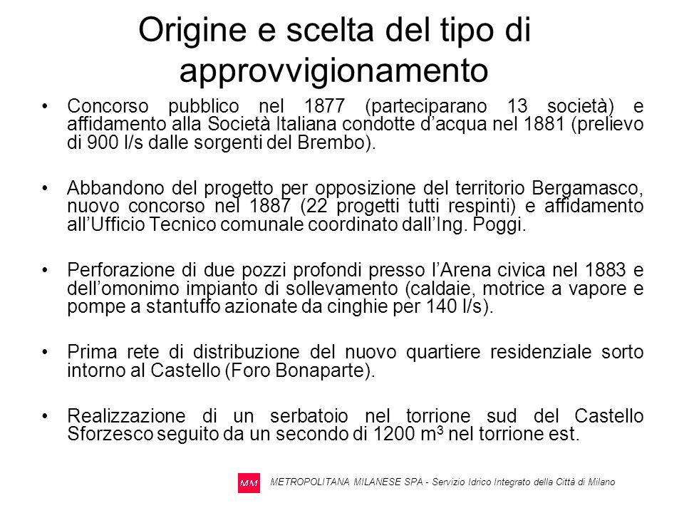 METROPOLITANA MILANESE SPA - Servizio Idrico Integrato della Città di Milano Dati del 2007 Volume erogato annuo mc 236.577.855 Portata media annua 7502 l/s Erogazione max giornaliera 801.285 mc/g Portata media nel giorno di massima erogazione 9274 l/s con coefficiente di punta giornaliera pari a (9274/7502) = 1,24 Portata max oraria nel giorno di massima erogazione 12500 l/s con coefficiente di punta oraria pari a (12500/9274) = 1,35 Energia elettrica annua assorbita 104.275.491 kWh Consumo specifico 0,441 kWh/mc Incidenza costo energetico per unità di prodotto 0,0550 /mc (aumentato del 12% rispetto a quello del 2006 di /mc 0,0489) Percentuale perdite (mancata fatturazione e perdite fisiche) inferiore al 10%