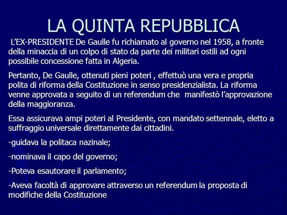 LA QUINTA REPUBBLICA LEX-PRESIDENTE De Gaulle fu richiamato al governo nel 1958, a fronte della minaccia di un colpo di stato da parte dei militari os