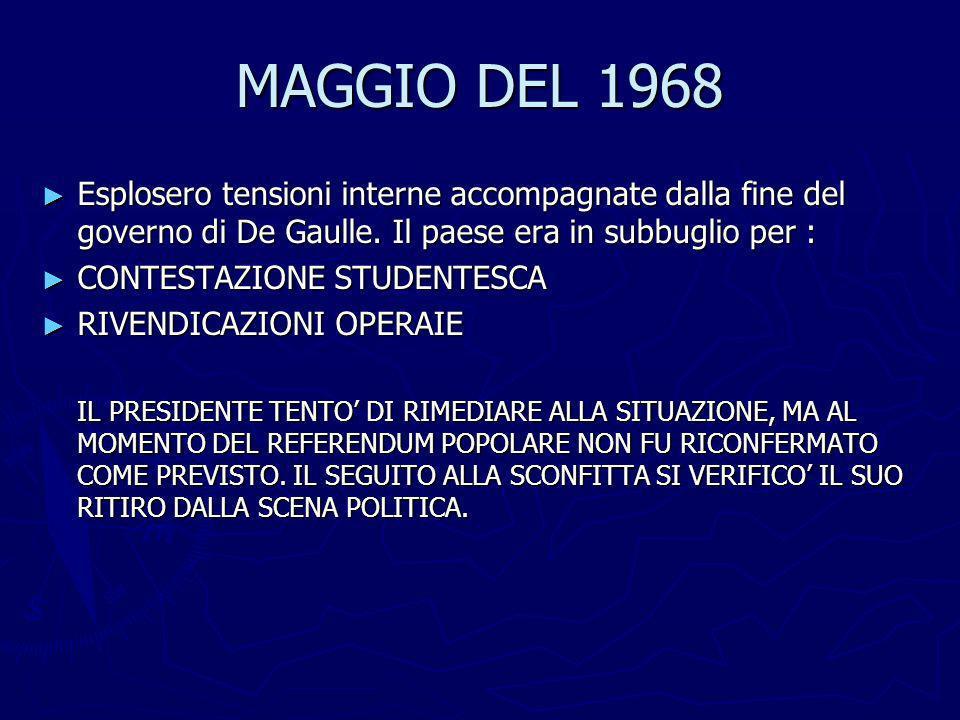MAGGIO DEL 1968 Esplosero tensioni interne accompagnate dalla fine del governo di De Gaulle. Il paese era in subbuglio per : Esplosero tensioni intern