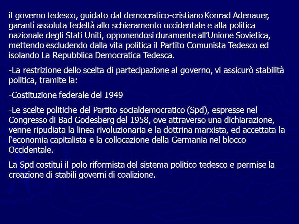 il governo tedesco, guidato dal democratico-cristiano Konrad Adenauer, garantì assoluta fedeltà allo schieramento occidentale e alla politica nazionale degli Stati Uniti, opponendosi duramente allUnione Sovietica, mettendo escludendo dalla vita politica il Partito Comunista Tedesco ed isolando La Repubblica Democratica Tedesca.