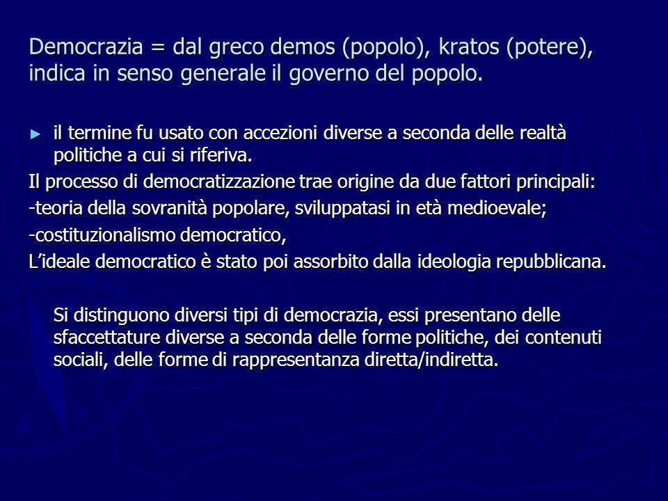 Democrazia = dal greco demos (popolo), kratos (potere), indica in senso generale il governo del popolo.