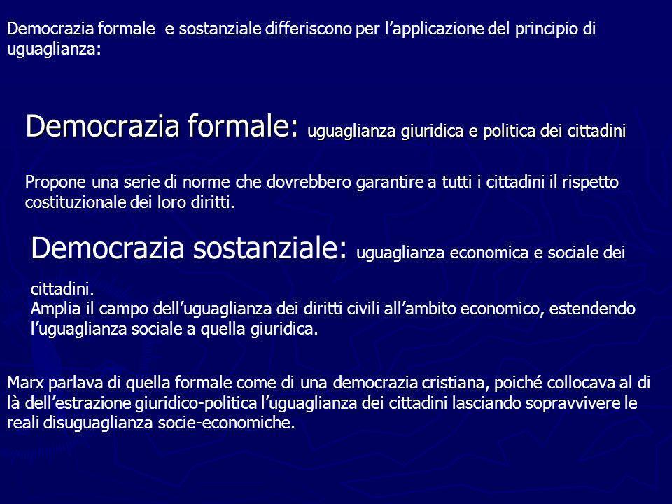 Democrazia formale: uguaglianza giuridica e politica dei cittadini Propone una serie di norme che dovrebbero garantire a tutti i cittadini il rispetto