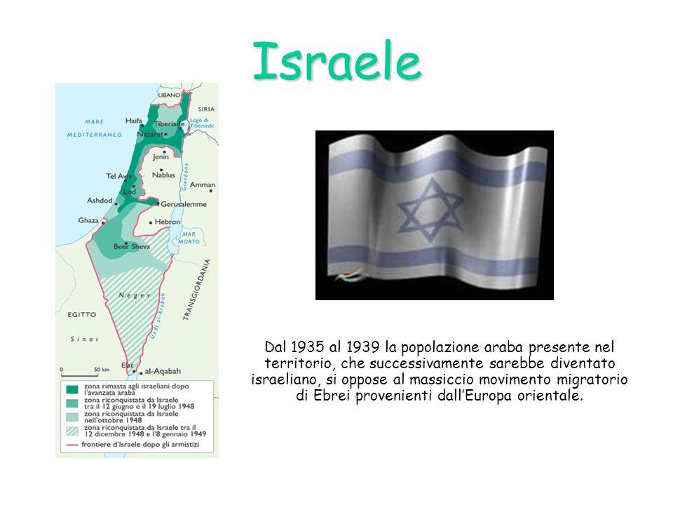 Israele Dal 1935 al 1939 la popolazione araba presente nel territorio, che successivamente sarebbe diventato israeliano, si oppose al massiccio movime