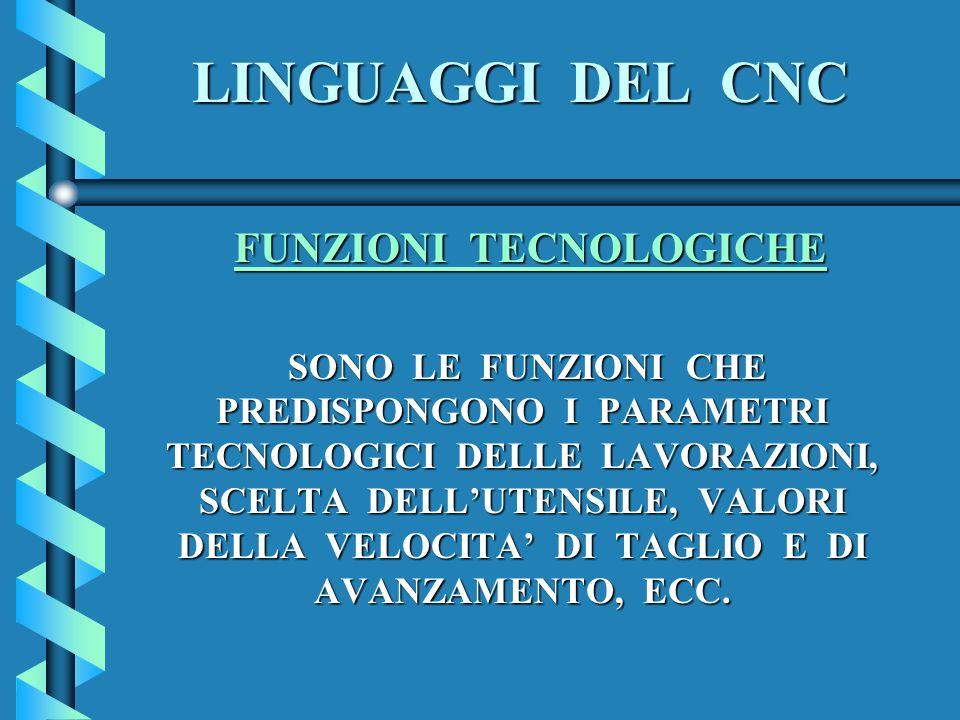 LINGUAGGI DEL CNC FUNZIONI TECNOLOGICHE FUNZIONI TECNOLOGICHE SONO LE FUNZIONI CHE PREDISPONGONO I PARAMETRI TECNOLOGICI DELLE LAVORAZIONI, SCELTA DEL