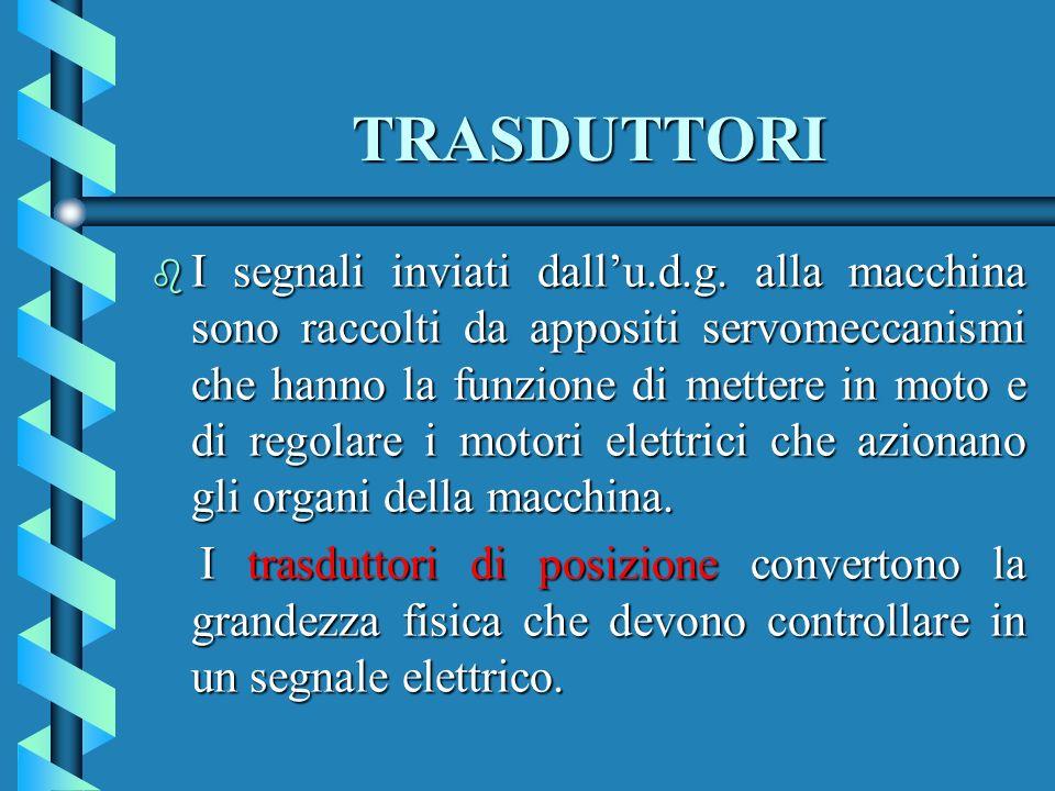TRASDUTTORI b I segnali inviati dallu.d.g. alla macchina sono raccolti da appositi servomeccanismi che hanno la funzione di mettere in moto e di regol