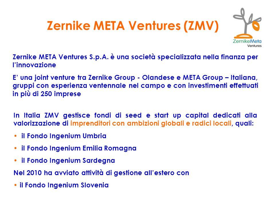 Zernike META Ventures (ZMV) In Italia ZMV gestisce fondi di seed e start up capital dedicati alla valorizzazione di imprenditori con ambizioni globali
