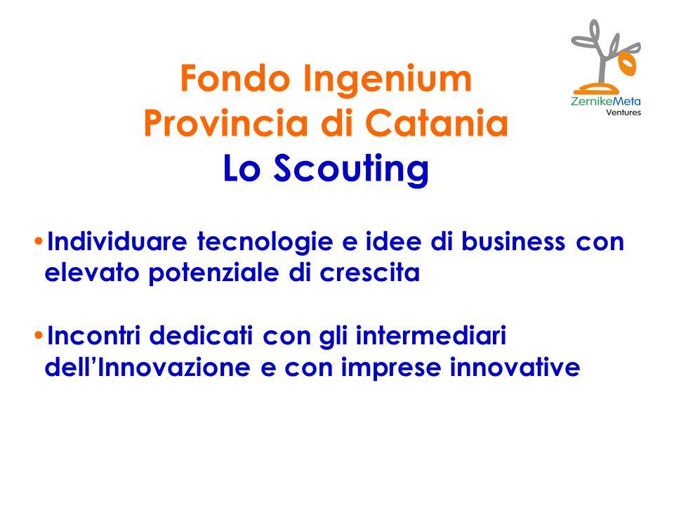 Fondo Ingenium Provincia di Catania Lo Scouting Individuare tecnologie e idee di business con elevato potenziale di crescita Incontri dedicati con gli intermediari dellInnovazione e con imprese innovative