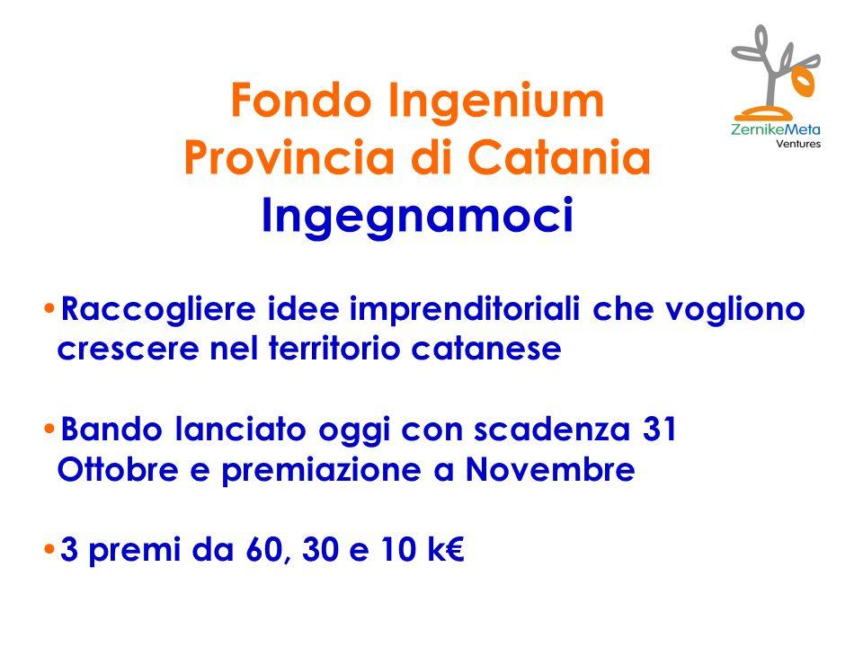 Fondo Ingenium Provincia di Catania Ingegnamoci Raccogliere idee imprenditoriali che vogliono crescere nel territorio catanese Bando lanciato oggi con scadenza 31 Ottobre e premiazione a Novembre 3 premi da 60, 30 e 10 k