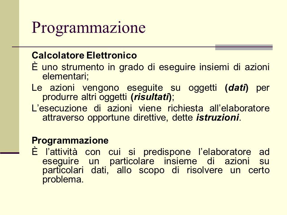 Programmazione Calcolatore Elettronico È uno strumento in grado di eseguire insiemi di azioni elementari; Le azioni vengono eseguite su oggetti (dati)