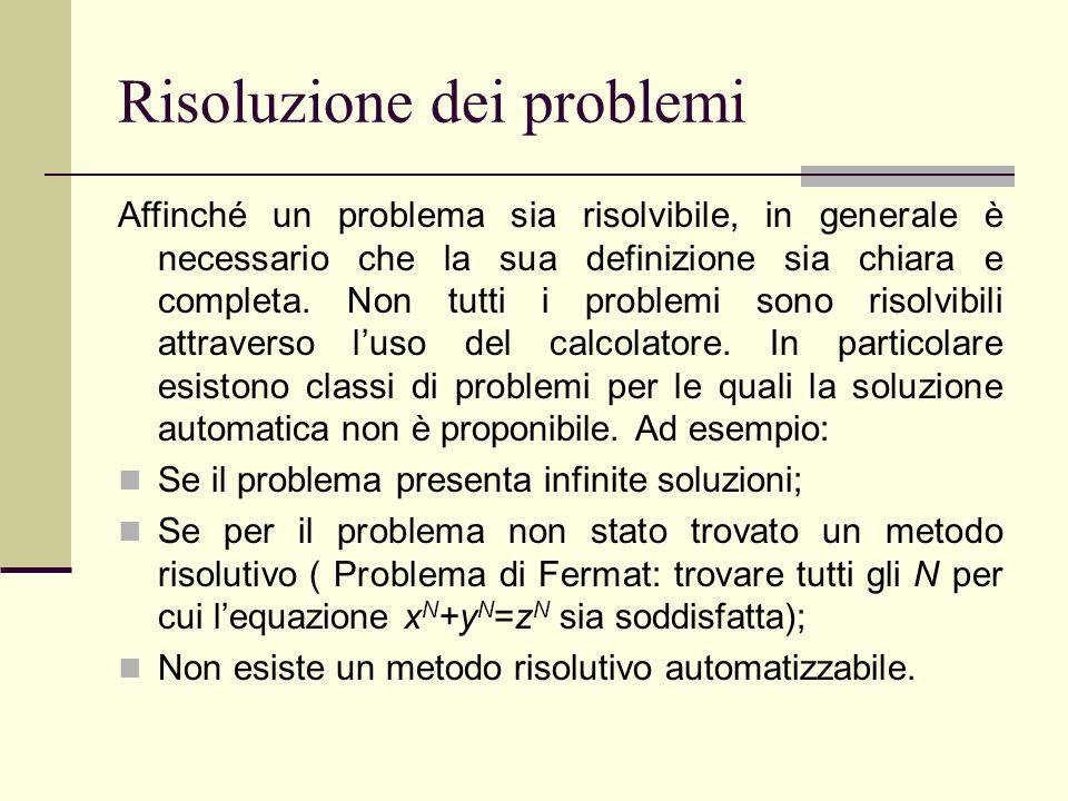 Risoluzione dei problemi Affinché un problema sia risolvibile, in generale è necessario che la sua definizione sia chiara e completa. Non tutti i prob