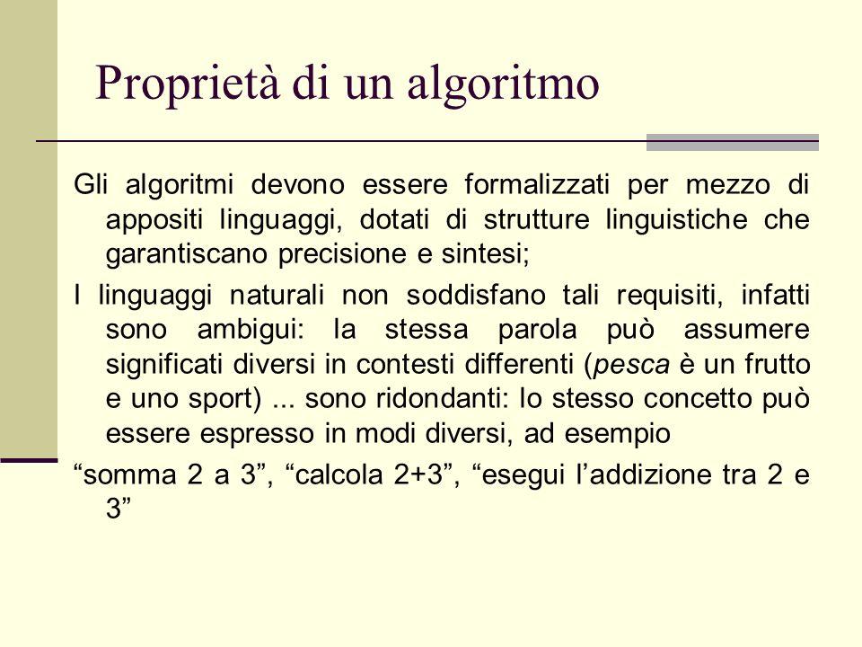 Proprietà di un algoritmo Gli algoritmi devono essere formalizzati per mezzo di appositi linguaggi, dotati di strutture linguistiche che garantiscano