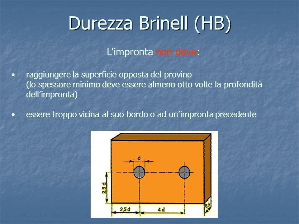 Durezza Brinell (HB) Limpronta non deve: raggiungere la superficie opposta del provino (lo spessore minimo deve essere almeno otto volte la profondità