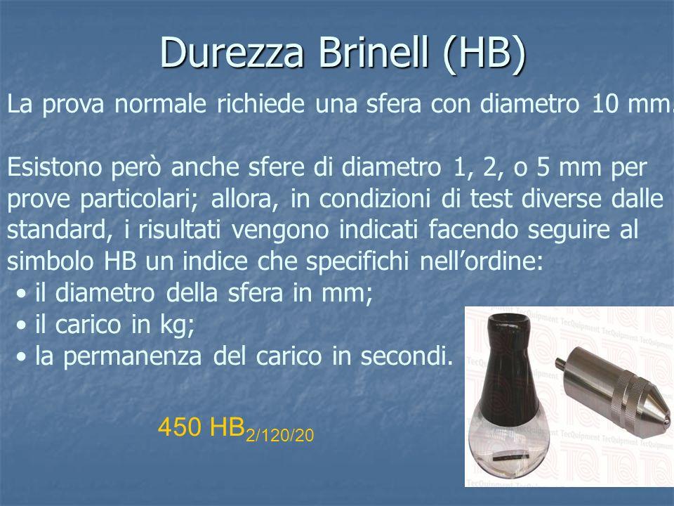 Durezza Brinell (HB) La prova normale richiede una sfera con diametro 10 mm. Esistono però anche sfere di diametro 1, 2, o 5 mm per prove particolari;