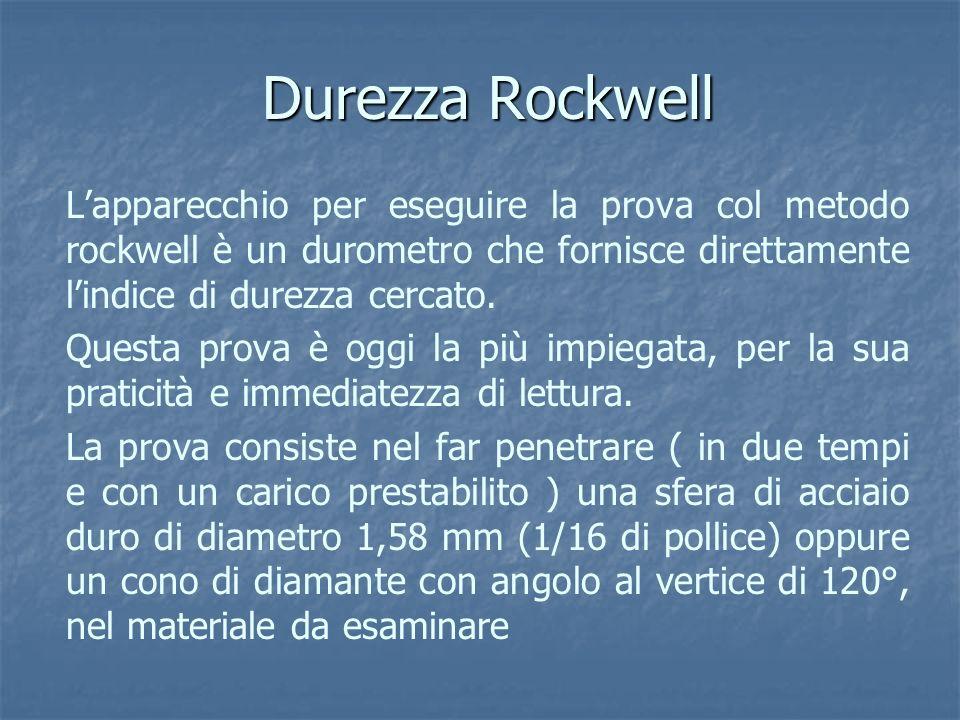 Durezza Rockwell Lapparecchio per eseguire la prova col metodo rockwell è un durometro che fornisce direttamente lindice di durezza cercato. Questa pr