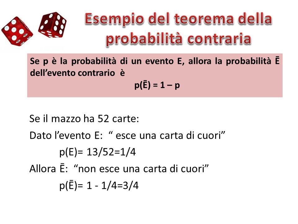 Se p è la probabilità di un evento E, allora la probabilità Ē dellevento contrario è p(Ē) = 1 – p Se il mazzo ha 52 carte: Dato levento E: esce una ca