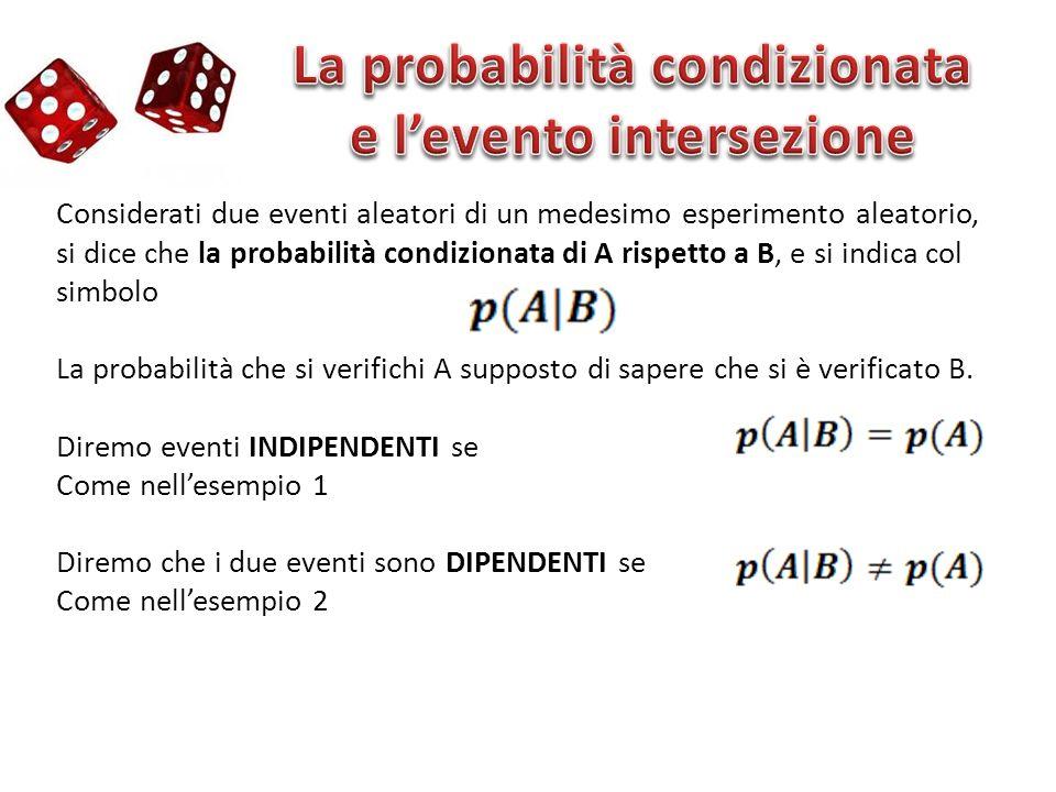 Considerati due eventi aleatori di un medesimo esperimento aleatorio, si dice che la probabilità condizionata di A rispetto a B, e si indica col simbo