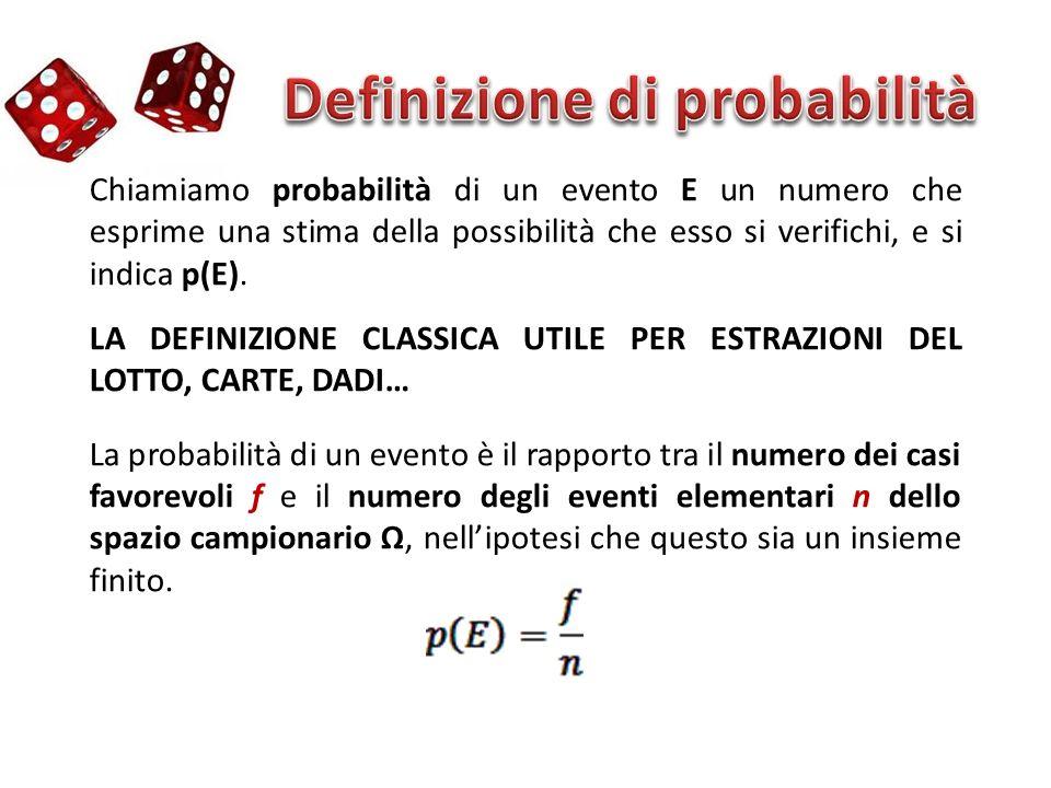 Chiamiamo probabilità di un evento E un numero che esprime una stima della possibilità che esso si verifichi, e si indica p(E). LA DEFINIZIONE CLASSIC