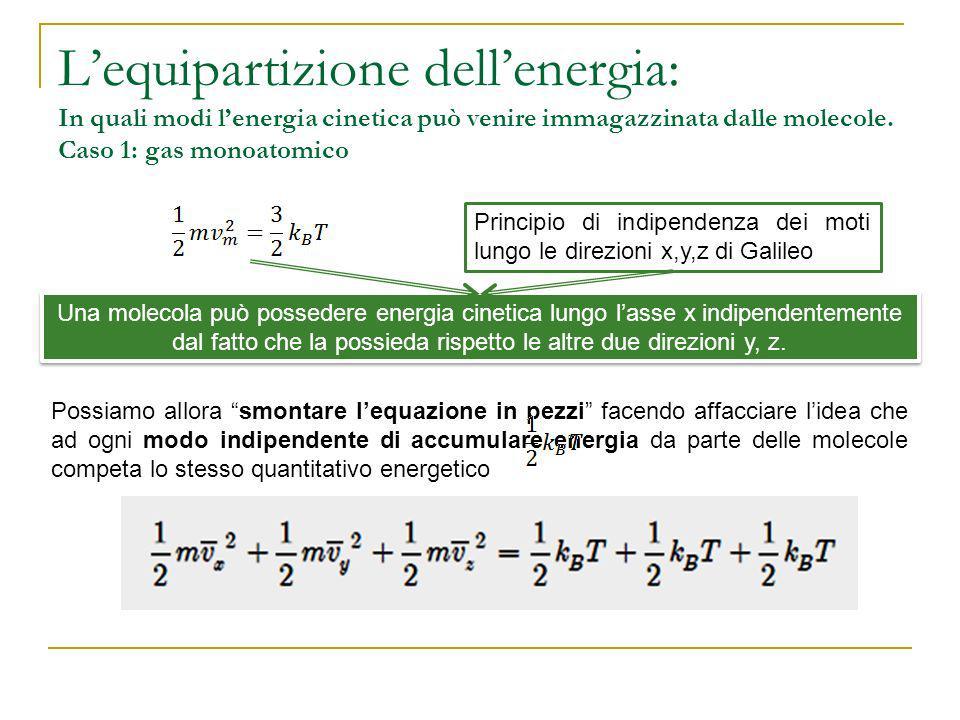 Lequipartizione dellenergia: In quali modi lenergia cinetica può venire immagazzinata dalle molecole. Caso 1: gas monoatomico Principio di indipendenz