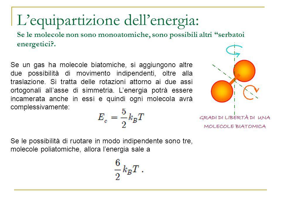 Lequipartizione dellenergia: Se le molecole non sono monoatomiche, sono possibili altri serbatoi energetici?. Se un gas ha molecole biatomiche, si agg