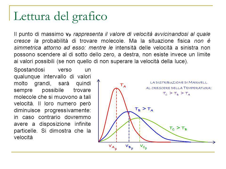 Lettura del grafico Il punto di massimo v p rappresenta il valore di velocità avvicinandosi al quale cresce la probabilità di trovare molecole. Ma la