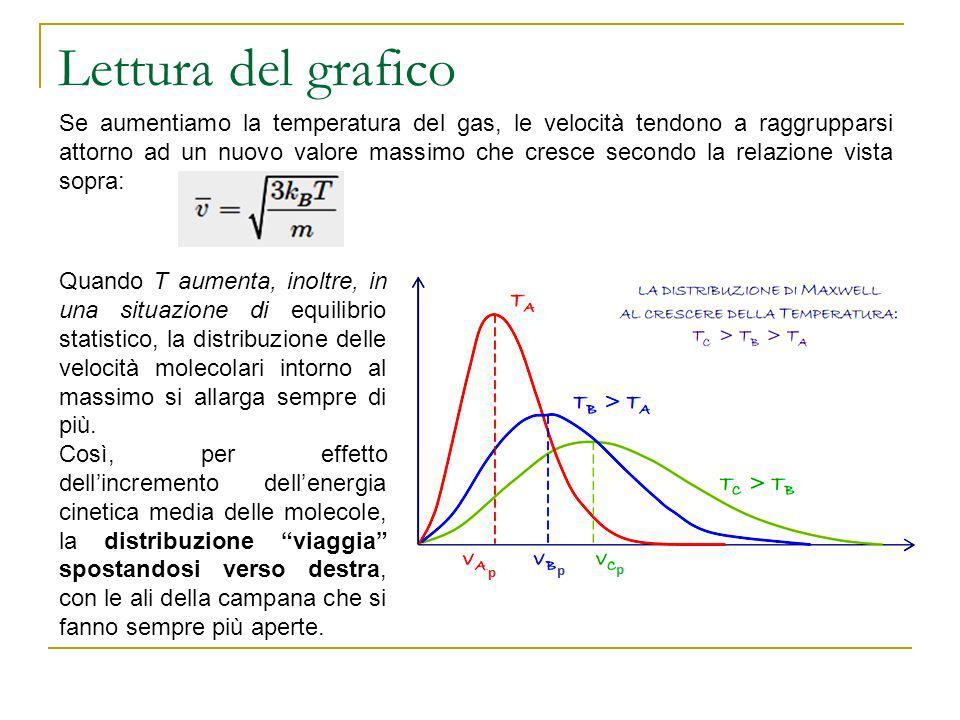 Lettura del grafico Se aumentiamo la temperatura del gas, le velocità tendono a raggrupparsi attorno ad un nuovo valore massimo che cresce secondo la