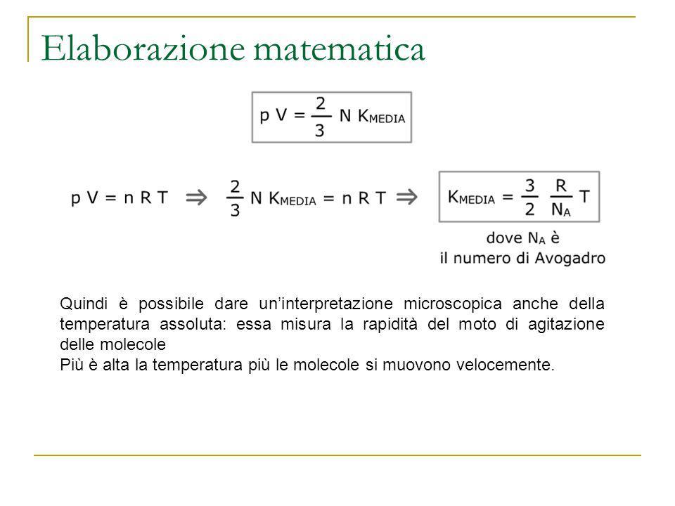 Elaborazione matematica Quindi è possibile dare uninterpretazione microscopica anche della temperatura assoluta: essa misura la rapidità del moto di a