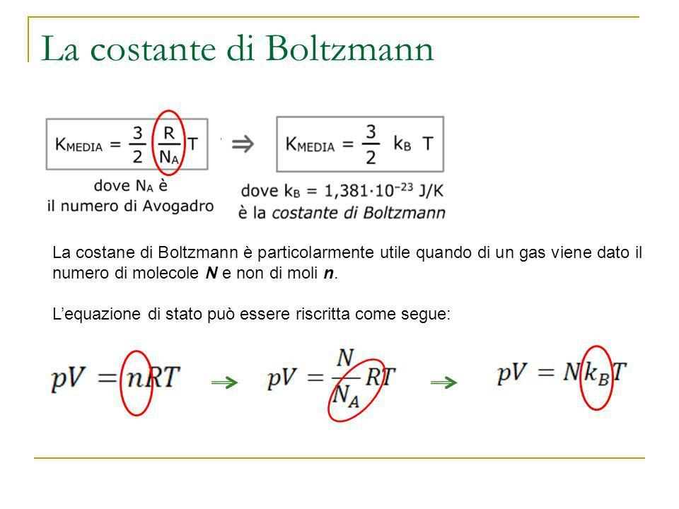 La costante di Boltzmann La costane di Boltzmann è particolarmente utile quando di un gas viene dato il numero di molecole N e non di moli n. Lequazio