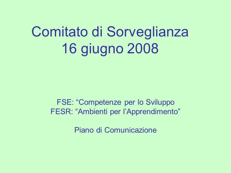 Comitato di Sorveglianza 16 giugno 2008 FSE: Competenze per lo Sviluppo FESR: Ambienti per lApprendimento Piano di Comunicazione