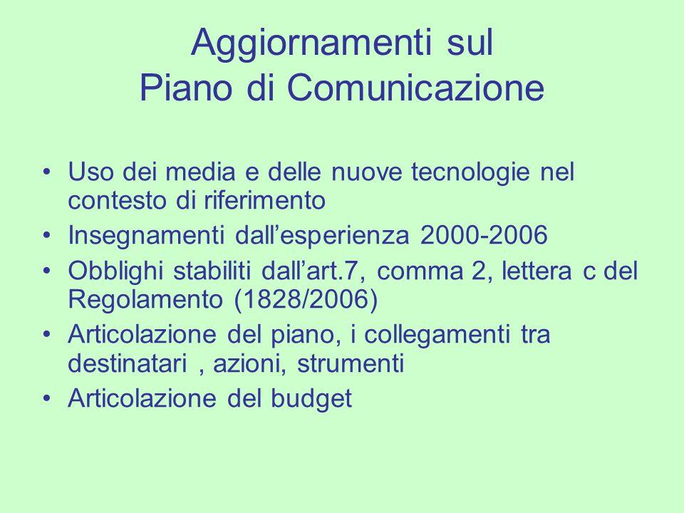 Aggiornamenti sul Piano di Comunicazione Uso dei media e delle nuove tecnologie nel contesto di riferimento Insegnamenti dallesperienza 2000-2006 Obbl