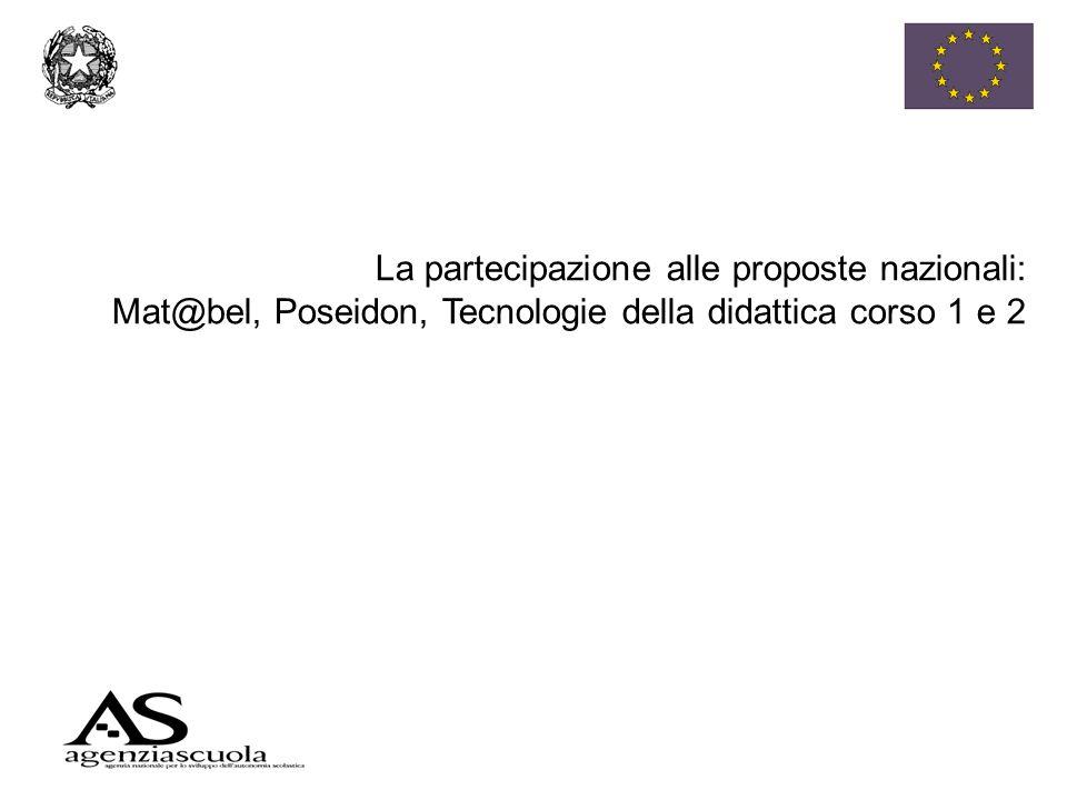 La partecipazione alle proposte nazionali: Mat@bel, Poseidon, Tecnologie della didattica corso 1 e 2