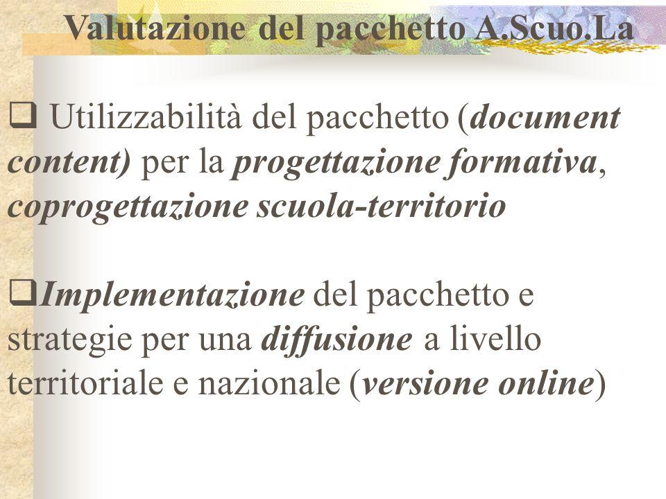 Valutazione del pacchetto A.Scuo.La Utilizzabilità del pacchetto (document content) per la progettazione formativa, coprogettazione scuola-territorio