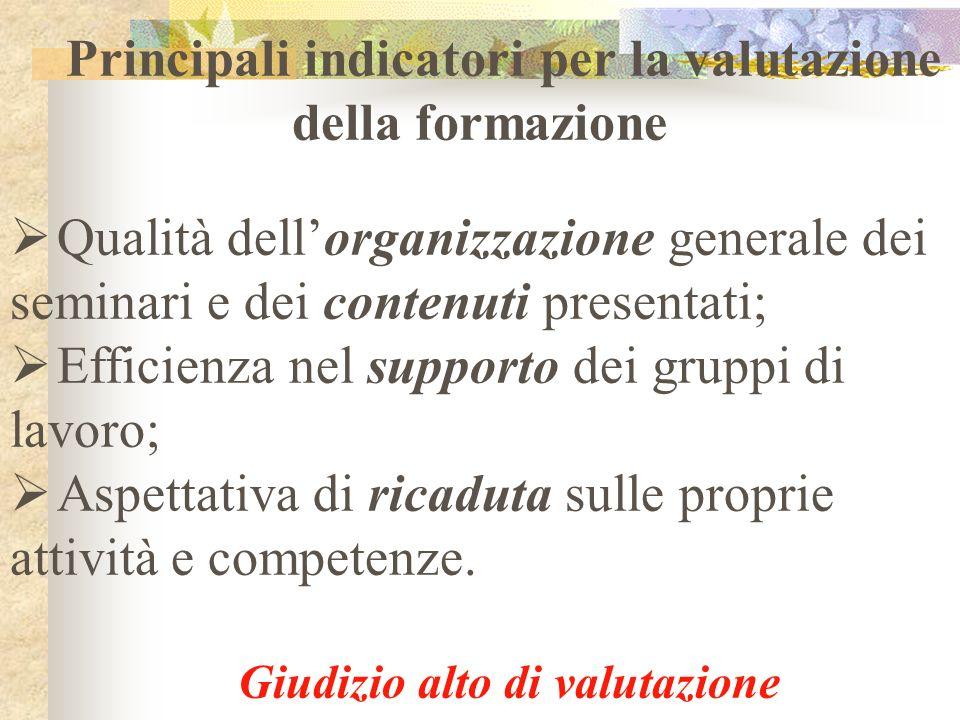 Principali indicatori per la valutazione della formazione Qualità dellorganizzazione generale dei seminari e dei contenuti presentati; Efficienza nel