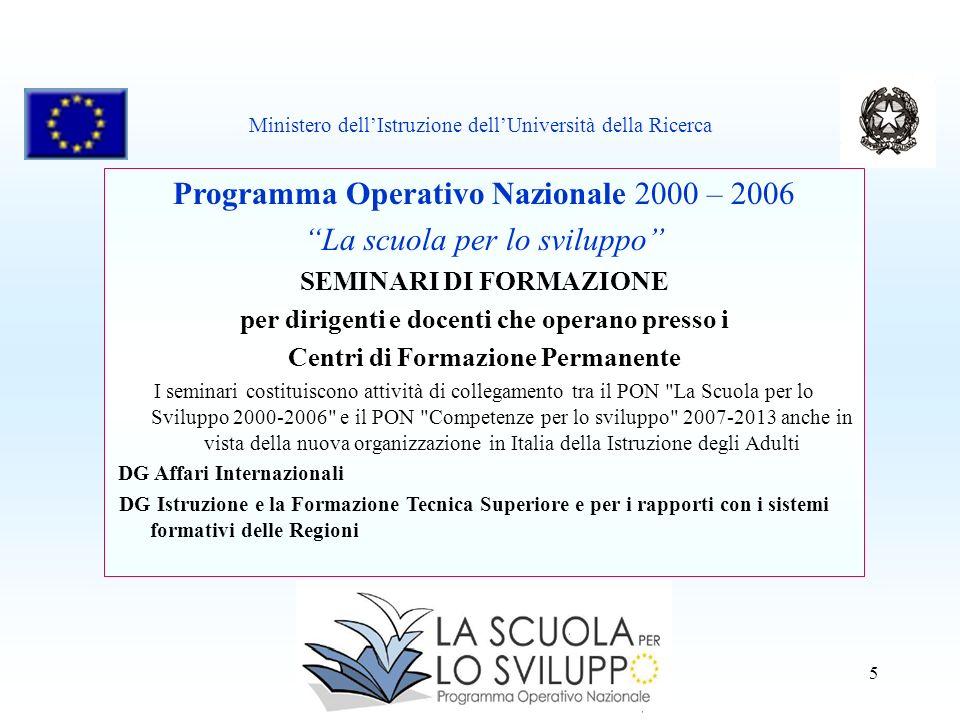 5 Programma Operativo Nazionale 2000 – 2006 La scuola per lo sviluppo SEMINARI DI FORMAZIONE per dirigenti e docenti che operano presso i Centri di Fo