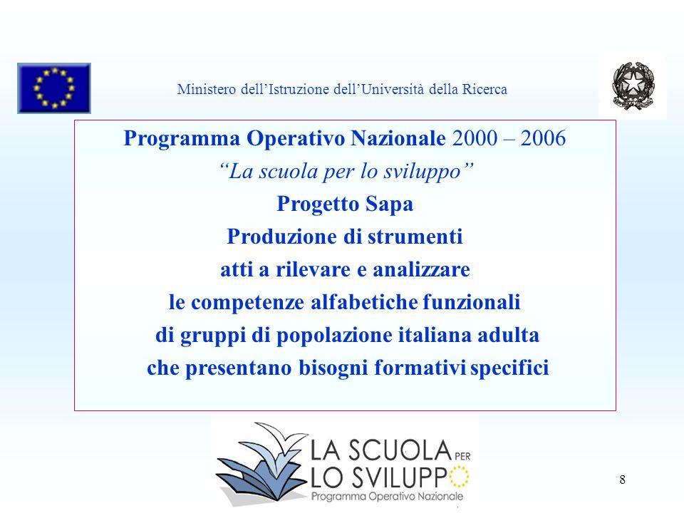 8 Programma Operativo Nazionale 2000 – 2006 La scuola per lo sviluppo Progetto Sapa Produzione di strumenti atti a rilevare e analizzare le competenze
