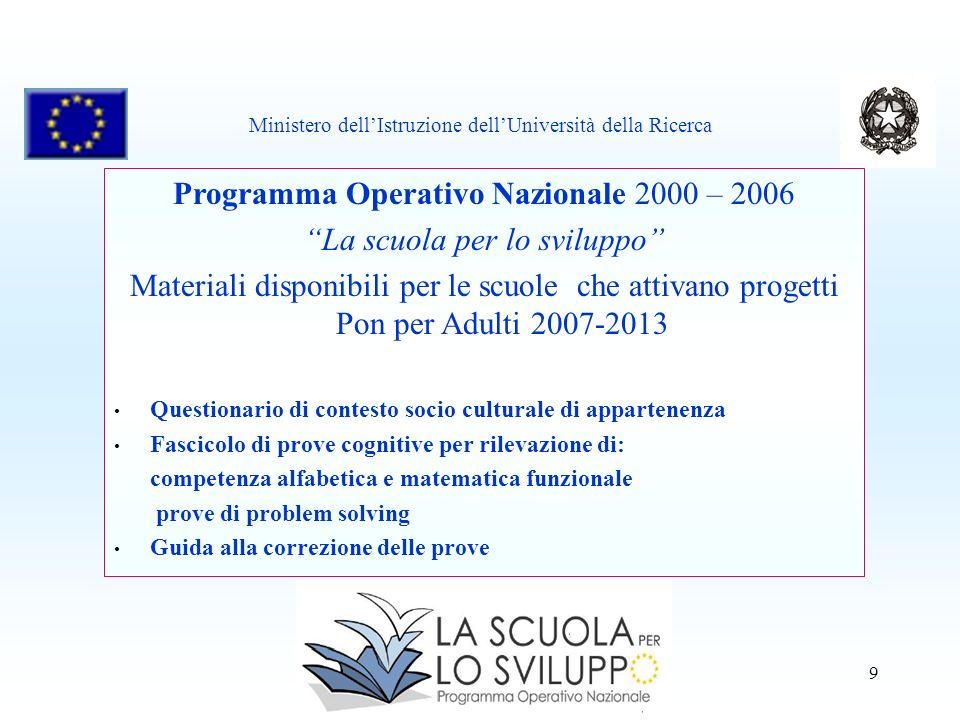 9 Programma Operativo Nazionale 2000 – 2006 La scuola per lo sviluppo Materiali disponibili per le scuole che attivano progetti Pon per Adulti 2007-20