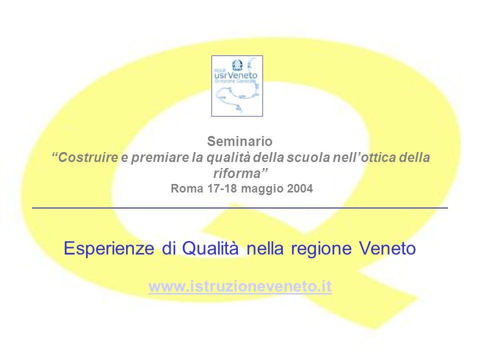 Seminario Costruire e premiare la qualità della scuola nellottica della riforma Roma 17-18 maggio 2004 Esperienze di Qualità nella regione Veneto www.