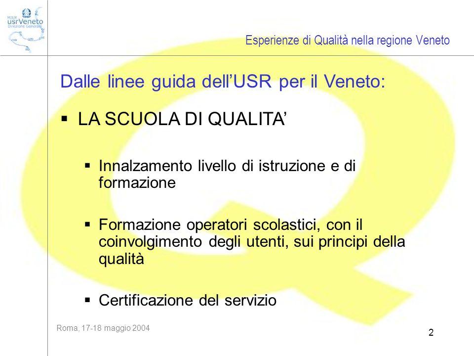 Roma, 17-18 maggio 2004 2 Dalle linee guida dellUSR per il Veneto: LA SCUOLA DI QUALITA Innalzamento livello di istruzione e di formazione Formazione