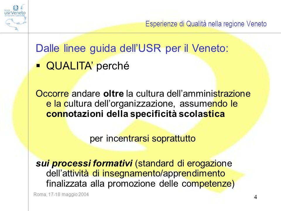 Roma, 17-18 maggio 2004 4 Dalle linee guida dellUSR per il Veneto: QUALITA perché Occorre andare oltre la cultura dellamministrazione e la cultura del