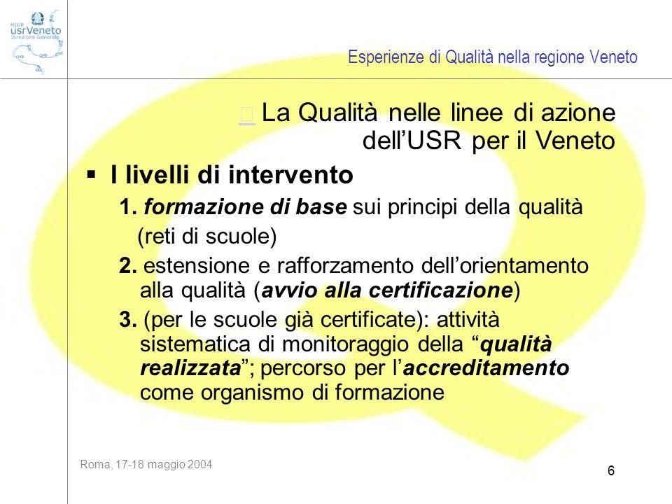 Roma, 17-18 maggio 2004 6  La Qualità nelle linee di azione dellUSR per il Veneto I livelli di intervento 1. formazione di base sui principi della q