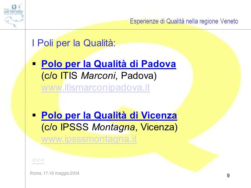 Roma, 17-18 maggio 2004 9 I Poli per la Qualità: Esperienze di Qualità nella regione Veneto Polo per la Qualità di Padova (c/o ITIS Marconi, Padova) w