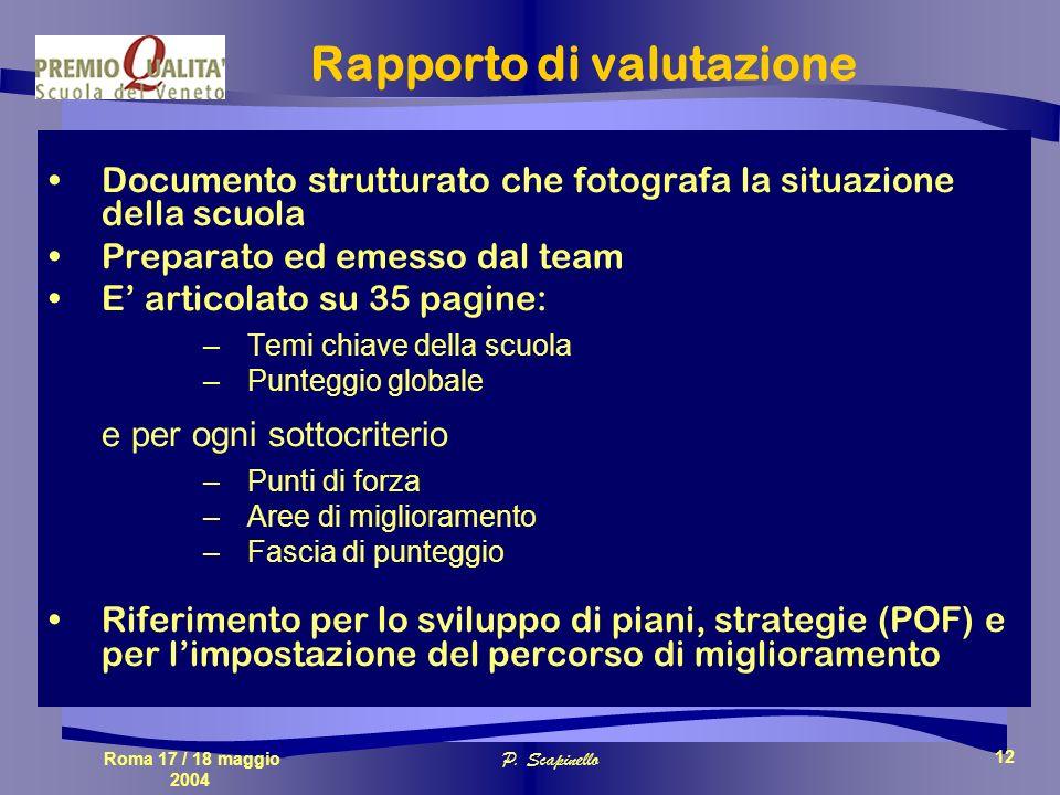 Roma 17 / 18 maggio 2004 P. Scapinello 12 Rapporto di valutazione Documento strutturato che fotografa la situazione della scuola Preparato ed emesso d