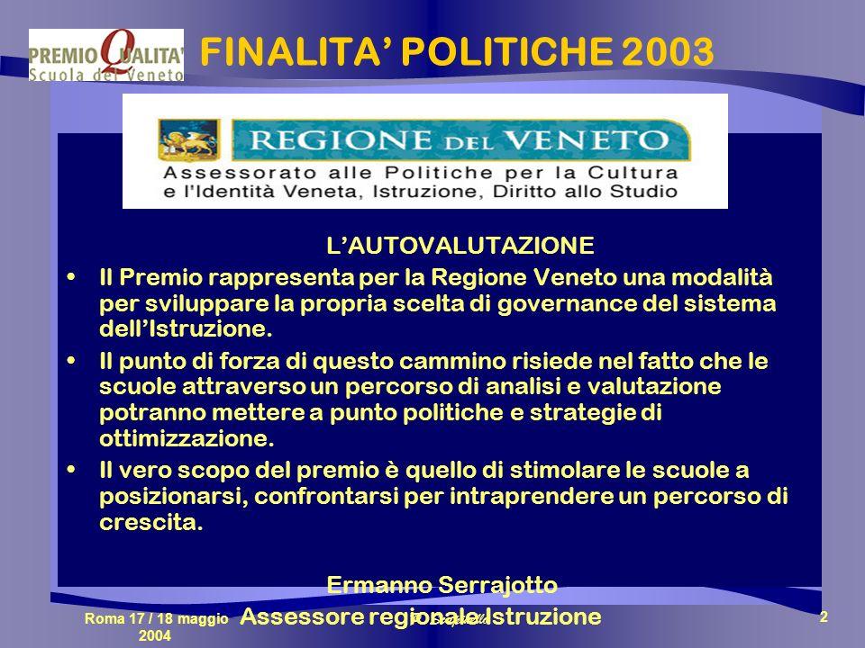 Roma 17 / 18 maggio 2004 P. Scapinello 2 FINALITA POLITICHE 2003 LAUTOVALUTAZIONE Il Premio rappresenta per la Regione Veneto una modalità per svilupp