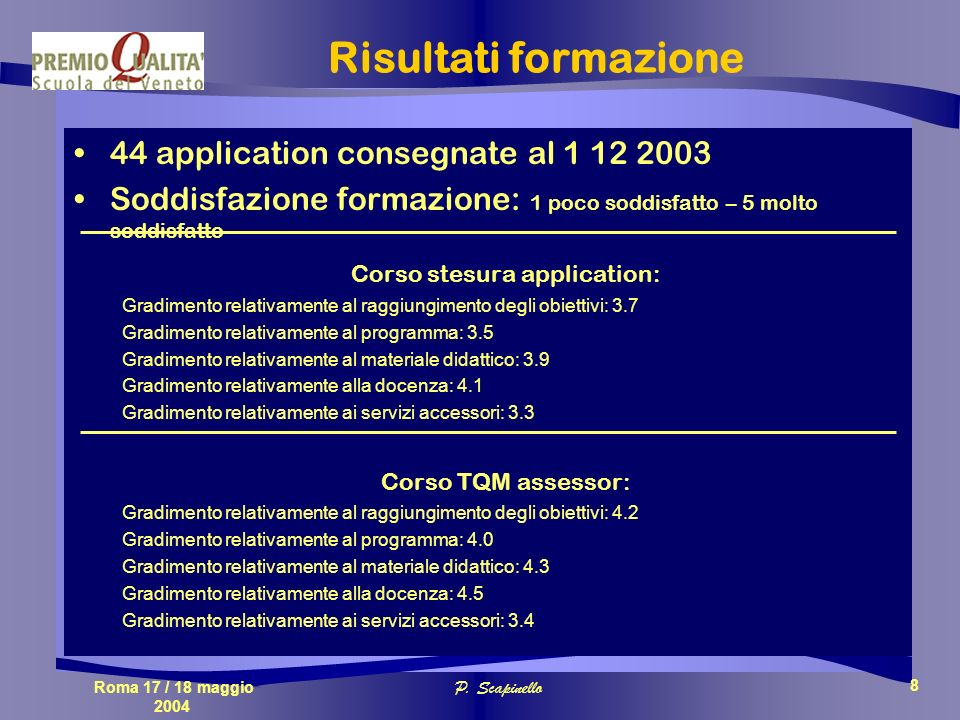 Roma 17 / 18 maggio 2004 P. Scapinello 8 Risultati formazione 44 application consegnate al 1 12 2003 Soddisfazione formazione: 1 poco soddisfatto – 5