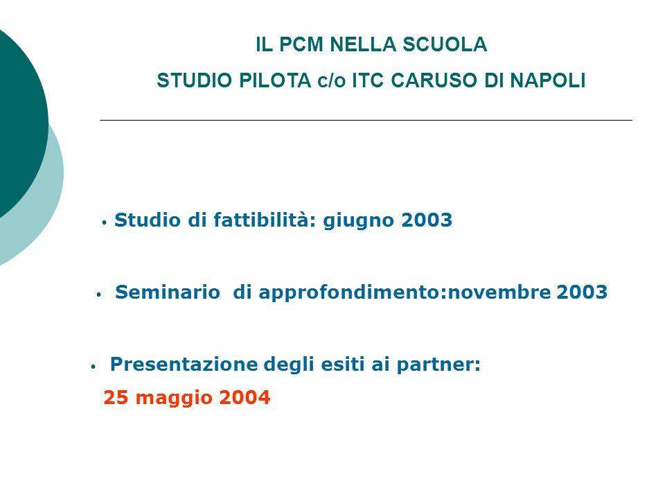 IL PCM NELLA SCUOLA STUDIO PILOTA c/o ITC CARUSO DI NAPOLI Studio di fattibilità: giugno 2003 Seminario di approfondimento:novembre 2003 Presentazione