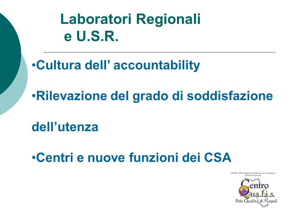 Cultura dell accountability Rilevazione del grado di soddisfazione dellutenza Centri e nuove funzioni dei CSA Laboratori Regionali e U.S.R.