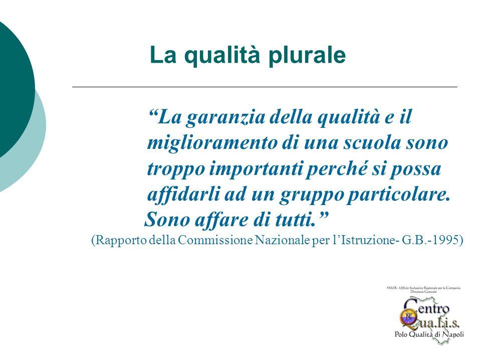 La garanzia della qualità e il miglioramento di una scuola sono troppo importanti perché si possa affidarli ad un gruppo particolare. Sono affare di t