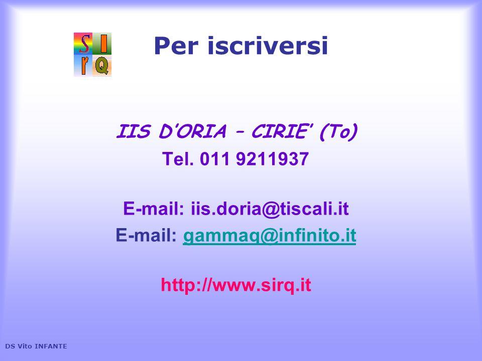 Per iscriversi IIS DORIA – CIRIE (To) Tel. 011 9211937 E-mail: iis.doria@tiscali.it E-mail: gammaq@infinito.itgammaq@infinito.it http://www.sirq.it DS