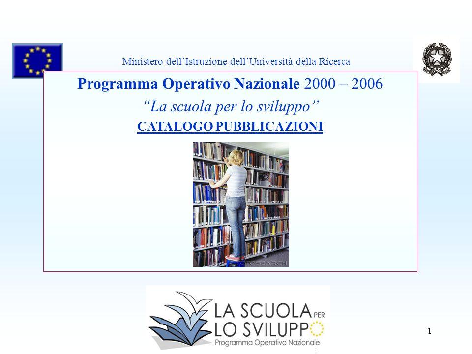 1 Programma Operativo Nazionale 2000 – 2006 La scuola per lo sviluppo CATALOGO PUBBLICAZIONI Ministero dellIstruzione dellUniversità della Ricerca