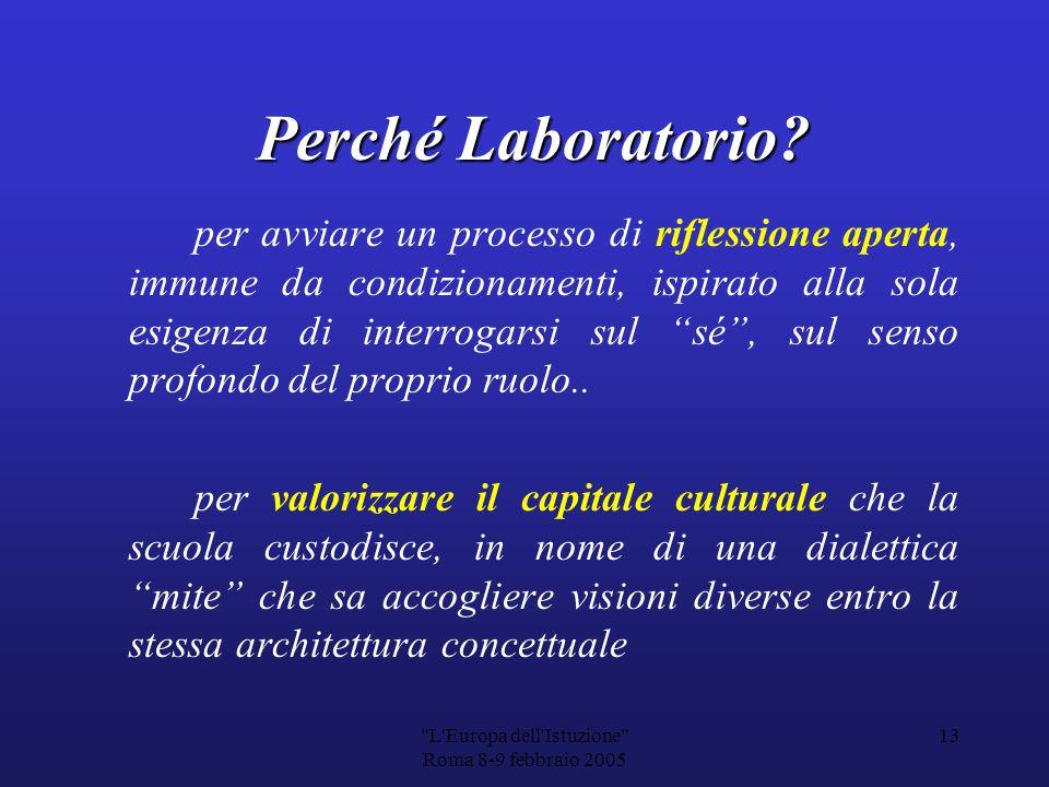 L Europa dell Istuzione Roma 8-9 febbraio 2005 12 PER DARE CONCRETEZZA OPERATIVA A QUESTA IDEA… LA P LA PROPOSTA DI MOMENTI SEMINARIALI INTINERANTI