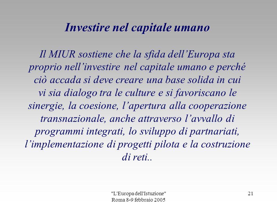 L Europa dell Istuzione Roma 8-9 febbraio 2005 20 Il quadro che illustra liniziativa Un cuore aperto allumanità è stato gentilmente concesso dallartista Andrea Agostini